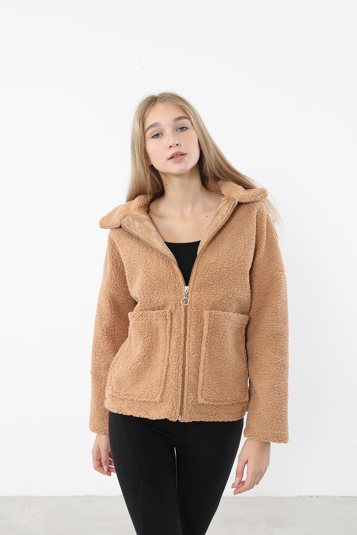 Fermuarlı Peluş Ceket-Karamel