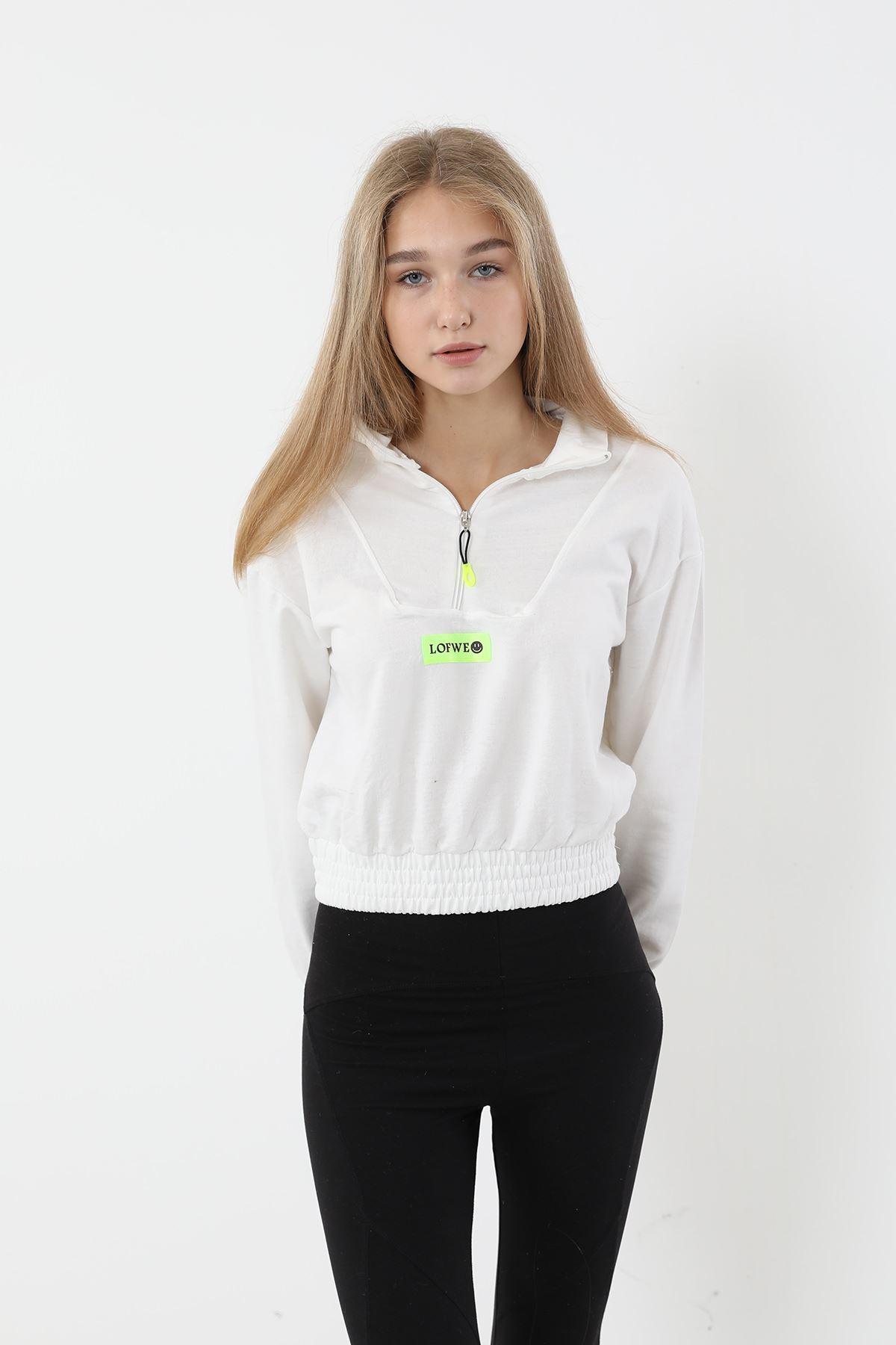Fermuarlı Sweatshirt-Beyaz