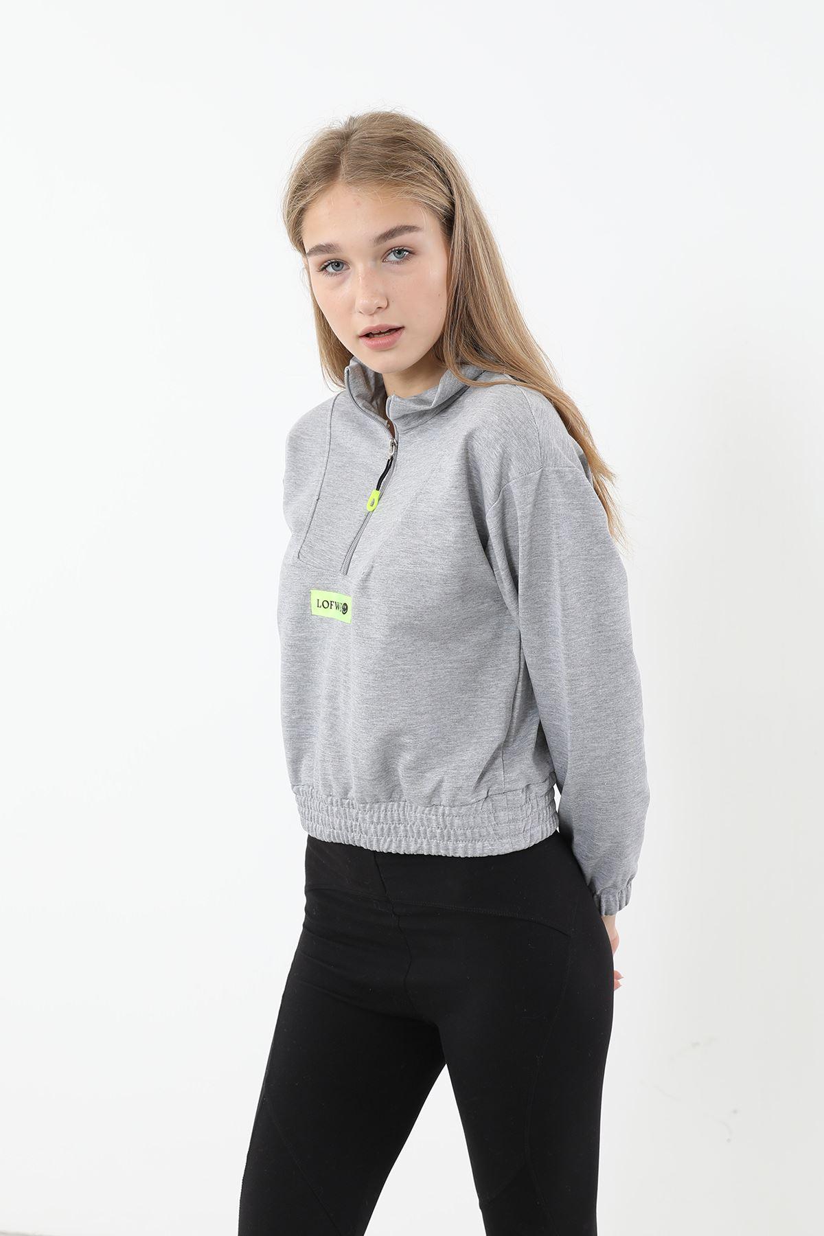 Fermuarlı Sweatshirt-Gri