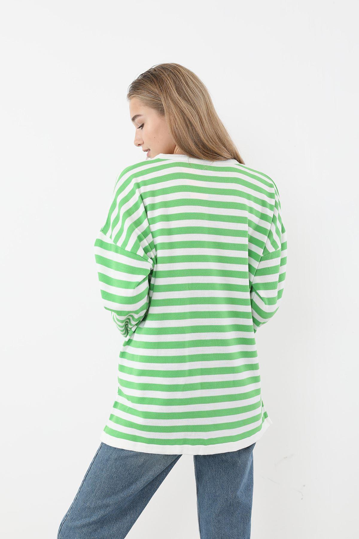 Çizgili Triko Bluz-Yeşil