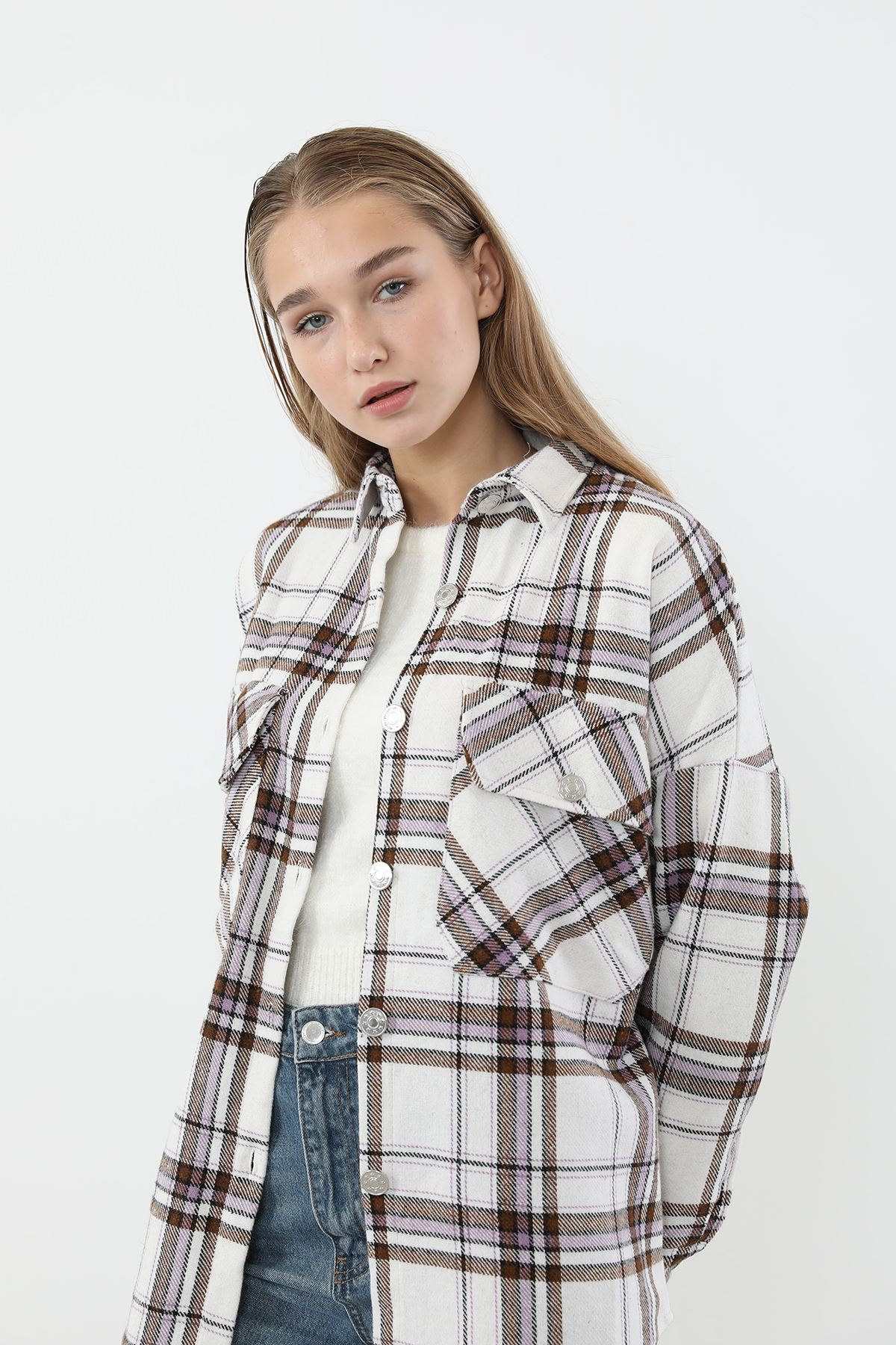 Çift Cep Gömlek-Lila