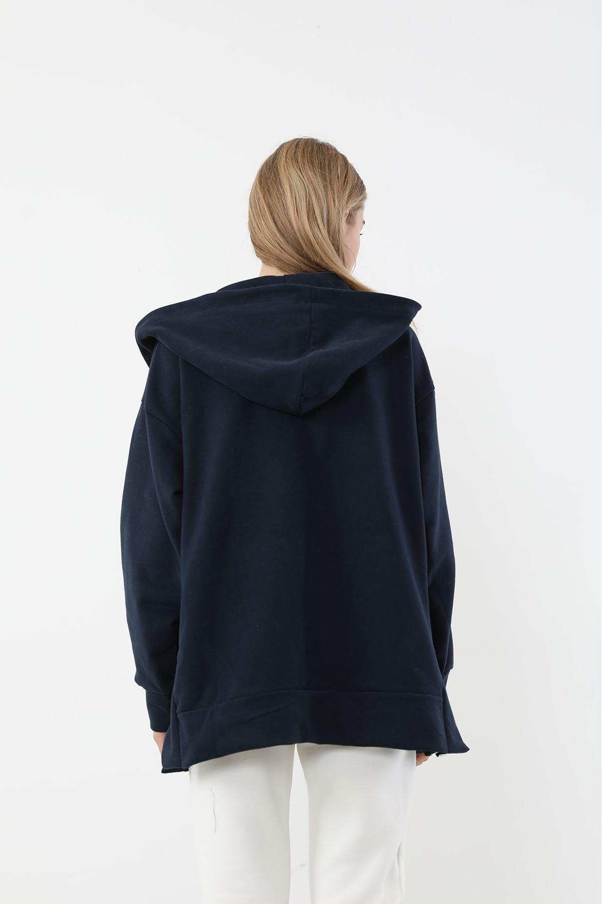 Fermuarlı Basic Sweatshirt-Lacivert
