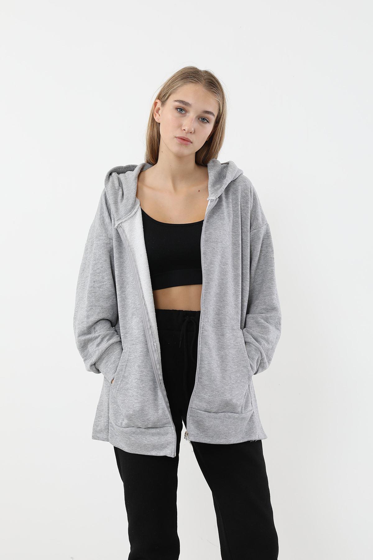 Fermuarlı Basic Sweatshirt-Gri