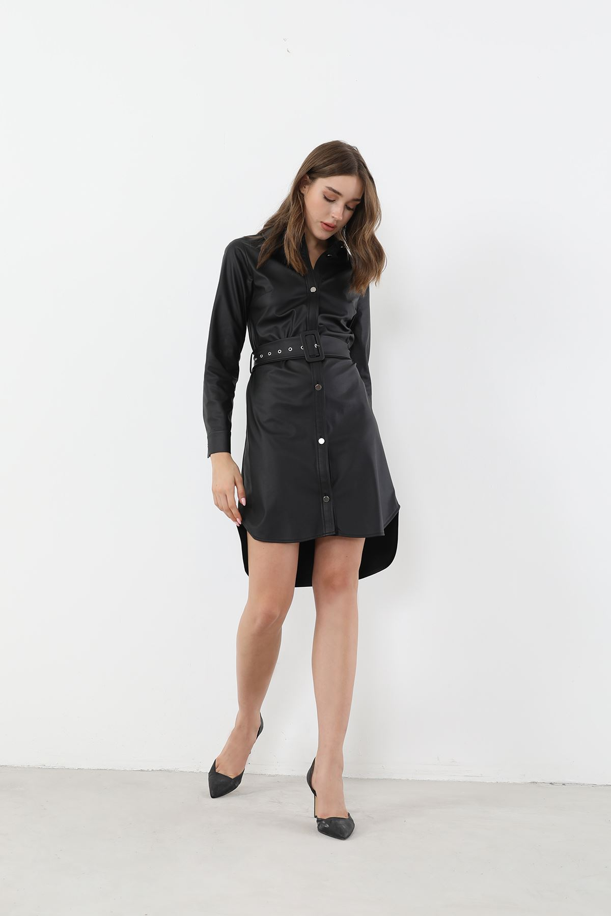Kemerli Deri Elbise-Siyah