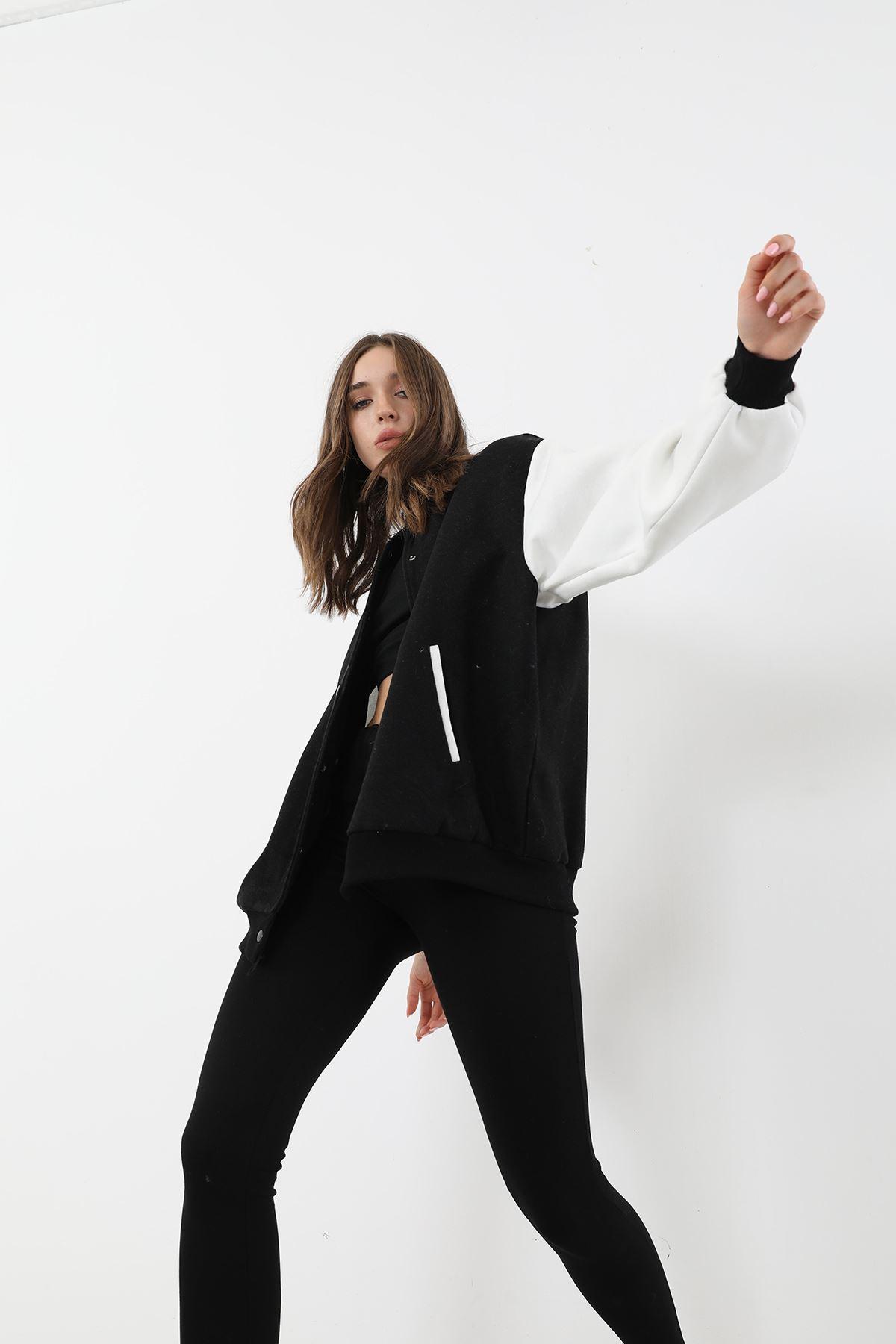 Kaşe Salaş Ceket-Siyah