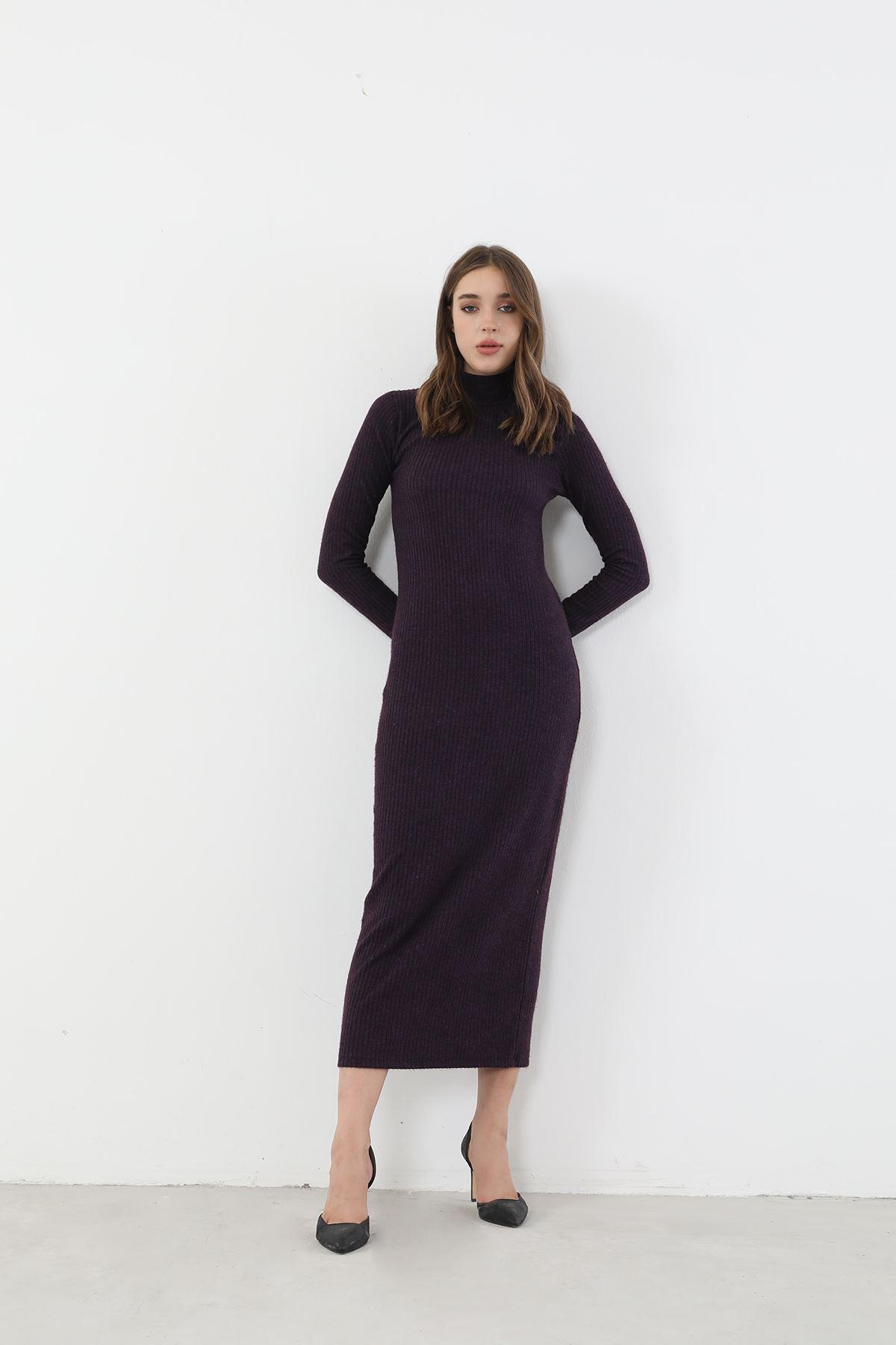 Dik Yaka Triko Elbise-Mürdüm