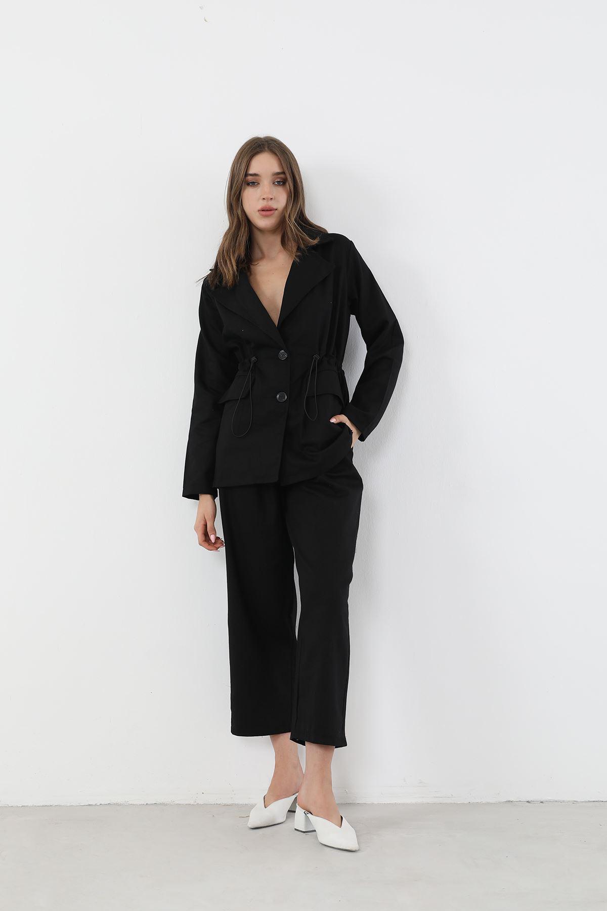 Düğmeli Ceket Takım-Siyah