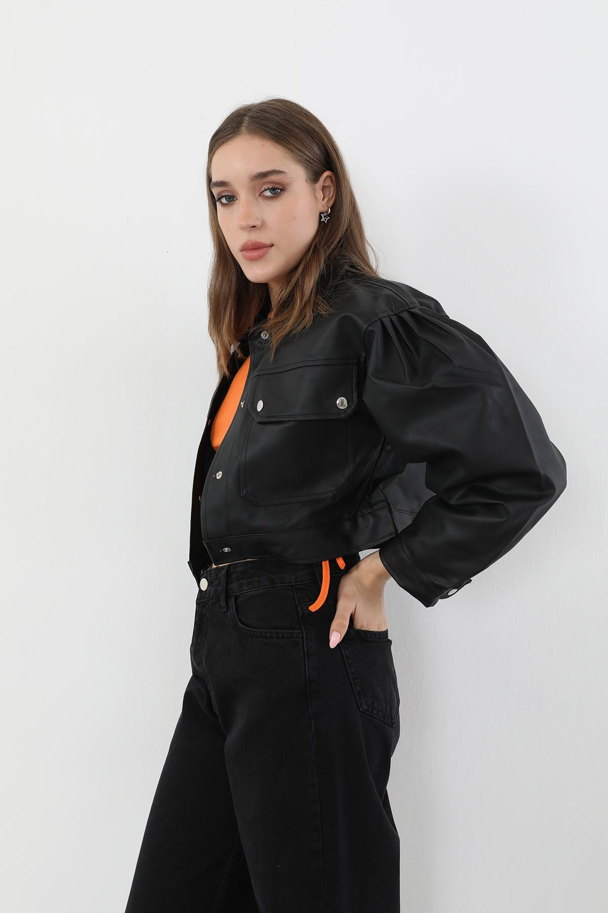 Balon Kol Deri Ceket-Siyah