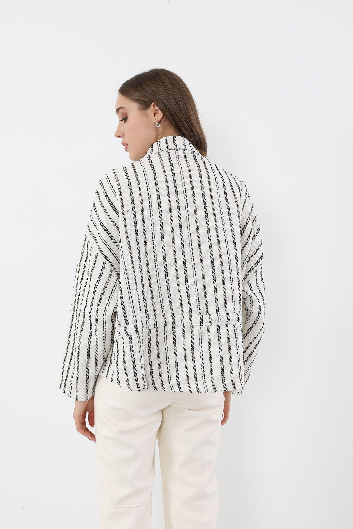Ekose Fermuarlı Ceket-Beyaz