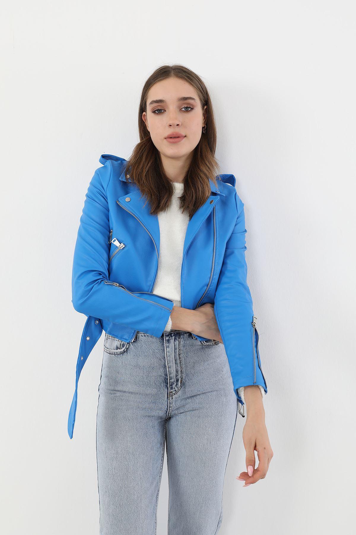 Kemerli Deri Ceket-Mavi