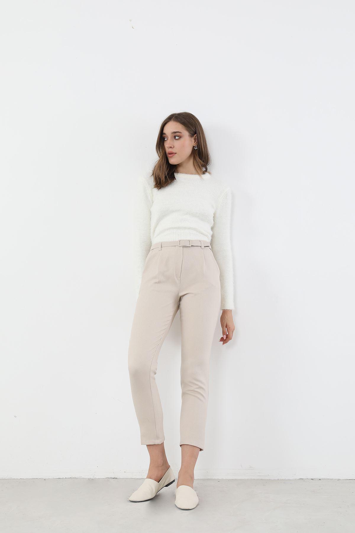 Beli Lastikli Yüksek Bel Pantolon-Bej