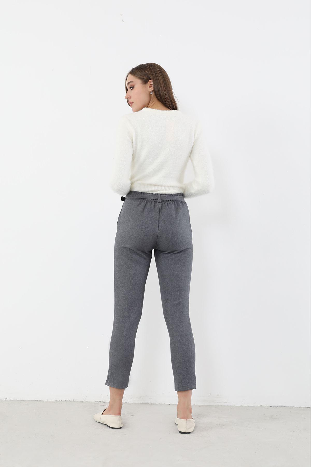 Beli Lastikli Yüksek Bel Pantolon-Füme
