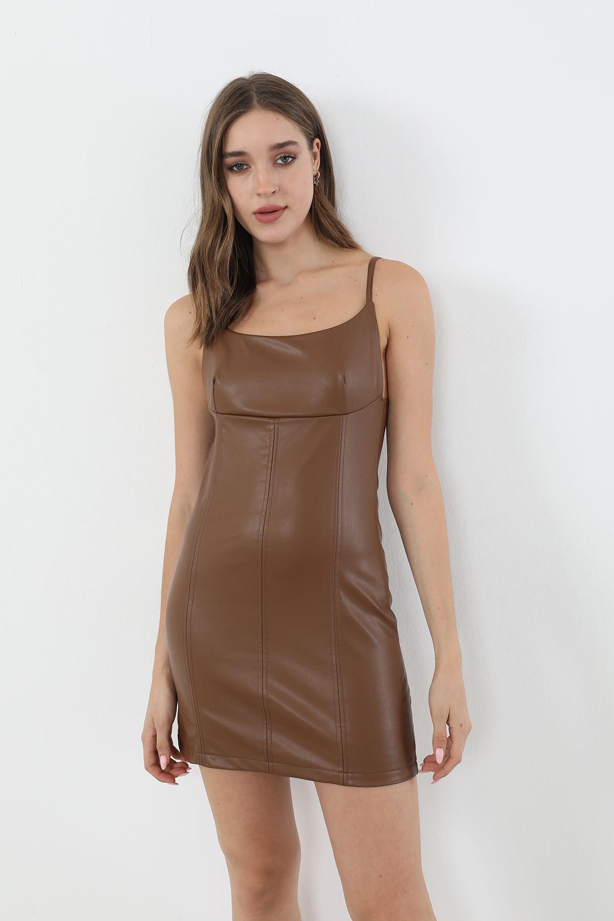 Askılı Deri Elbise-Kahve