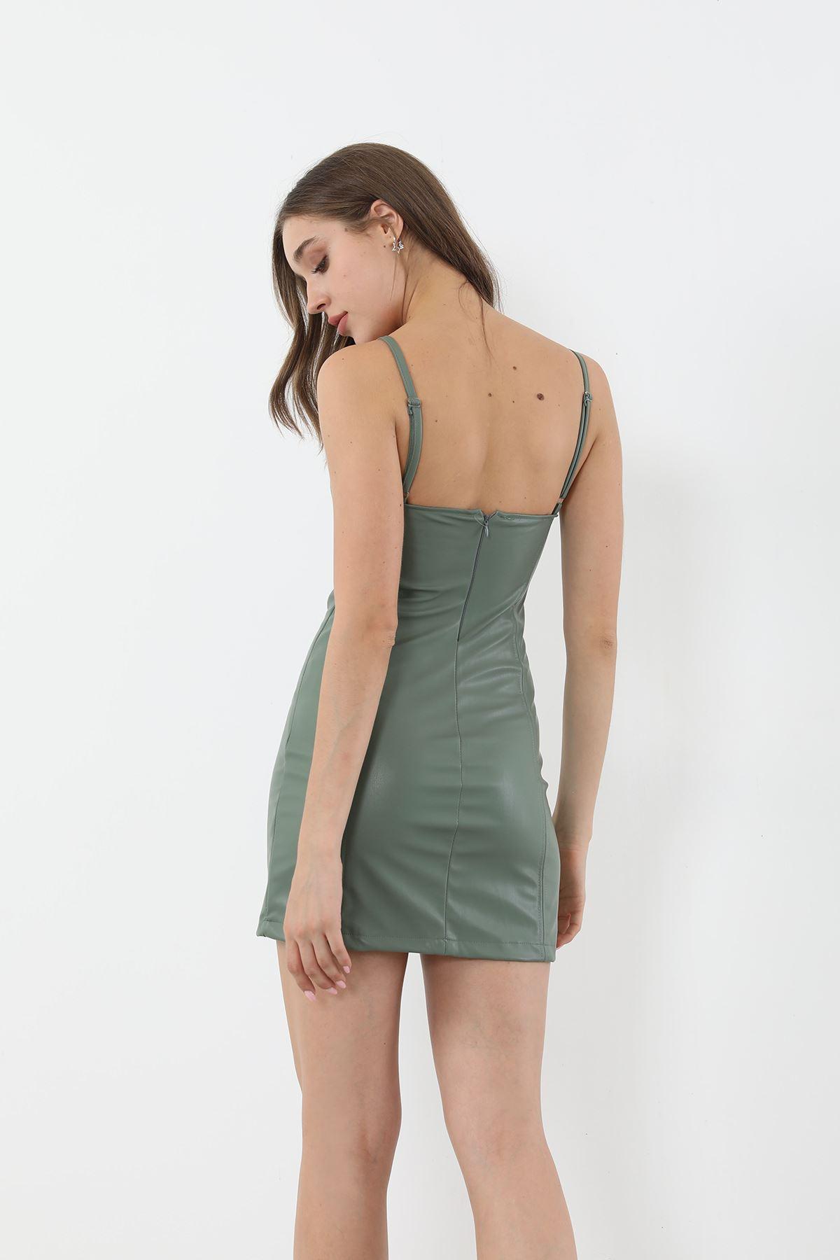 Askılı Deri Elbise-Mint