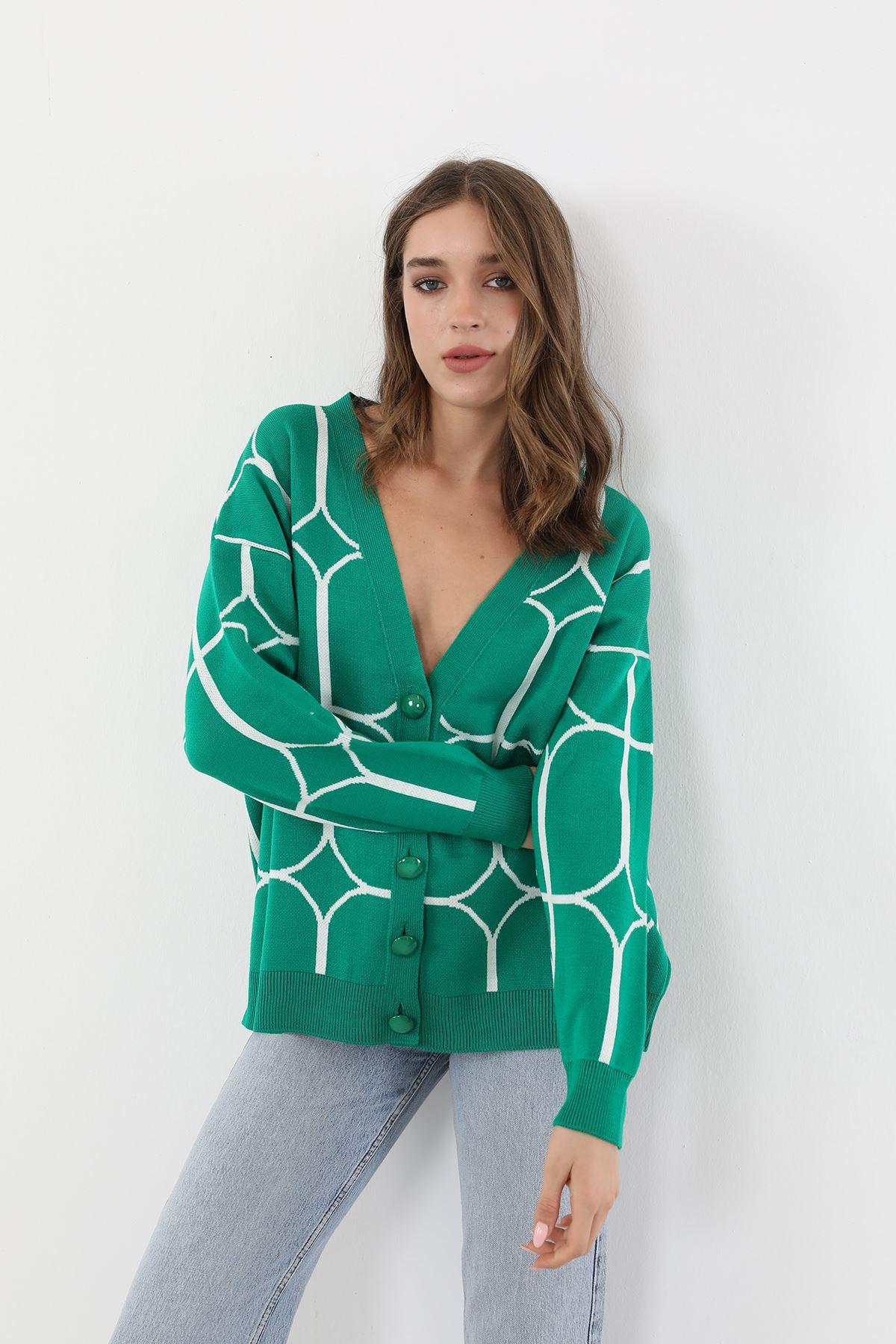 Desenli Hırka-Yeşil