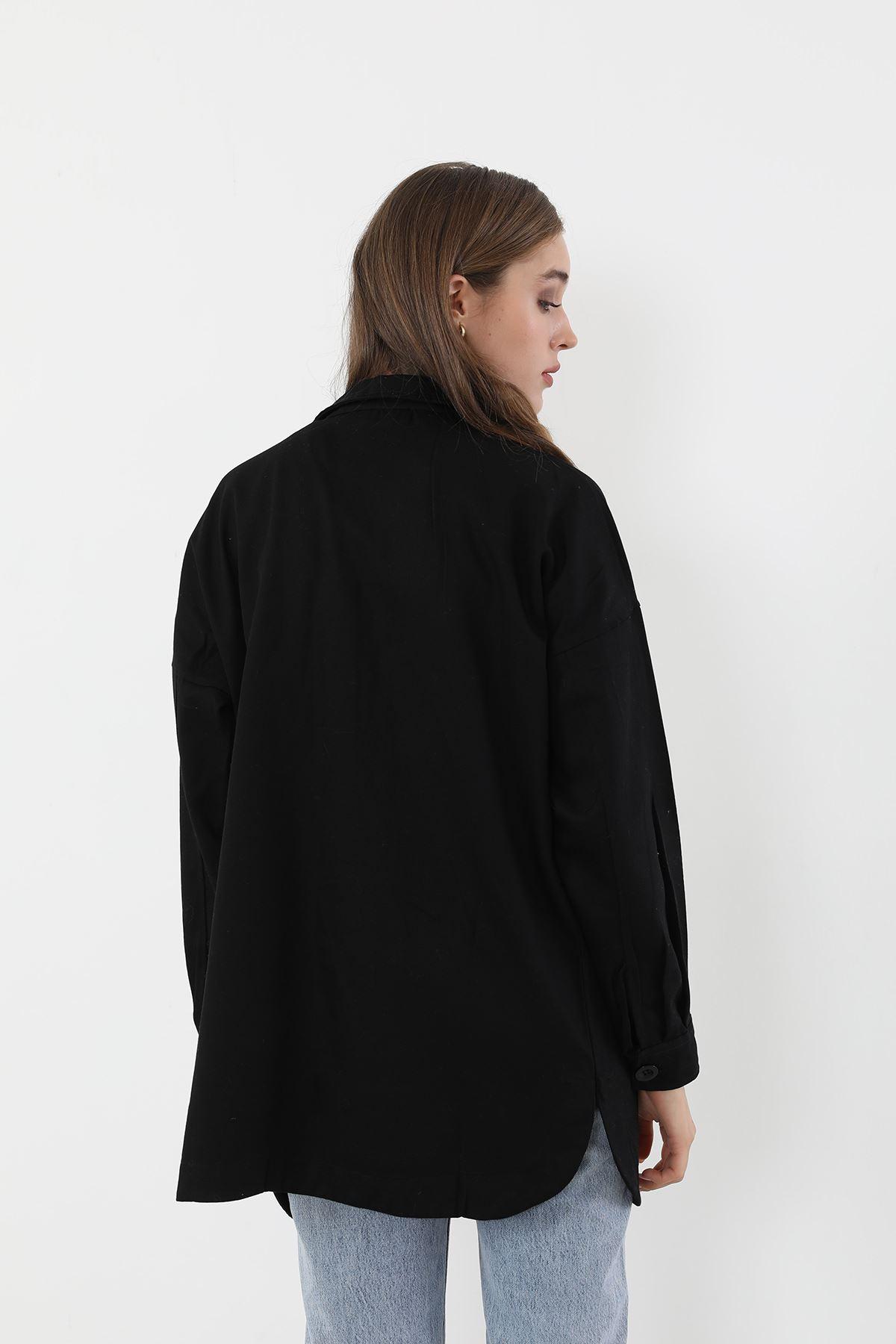 Çift Cep Gabardin Gömlek-Siyah