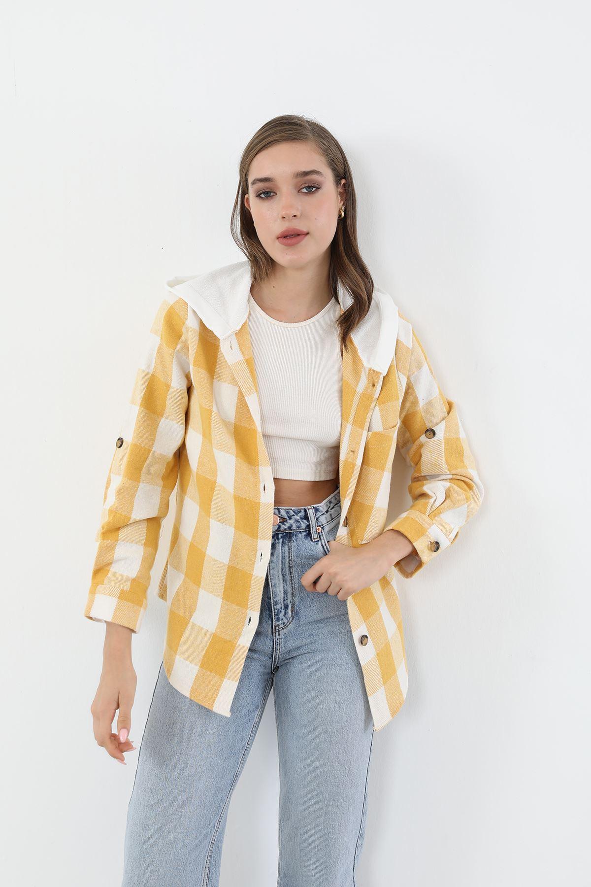 Kapşonlu Ekose Gömlek-Sarı