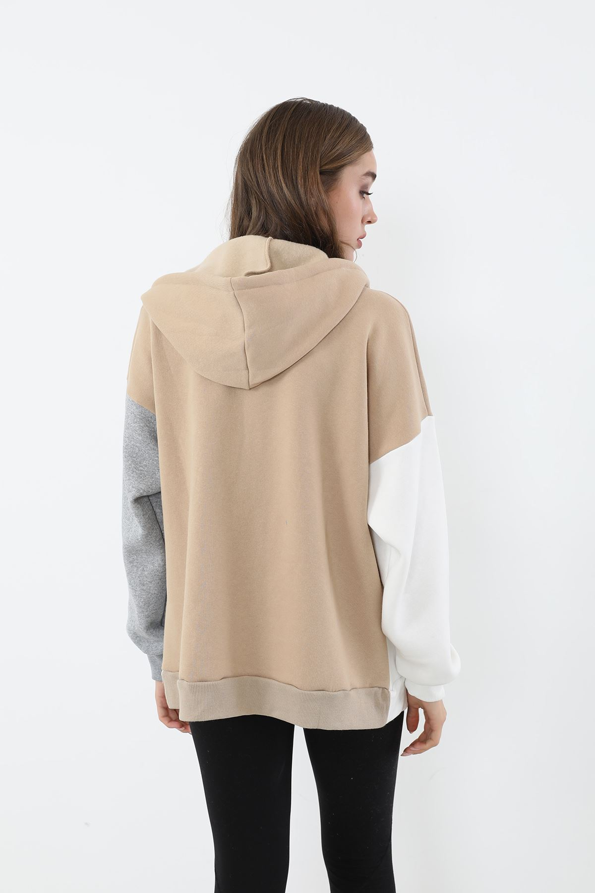 Fermuarlı Sweatshirt-Bej