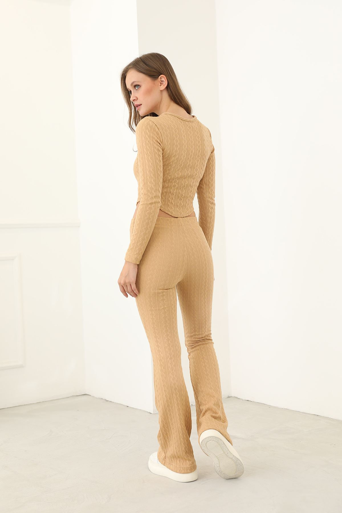 Örme Pantolon Takım-Bej