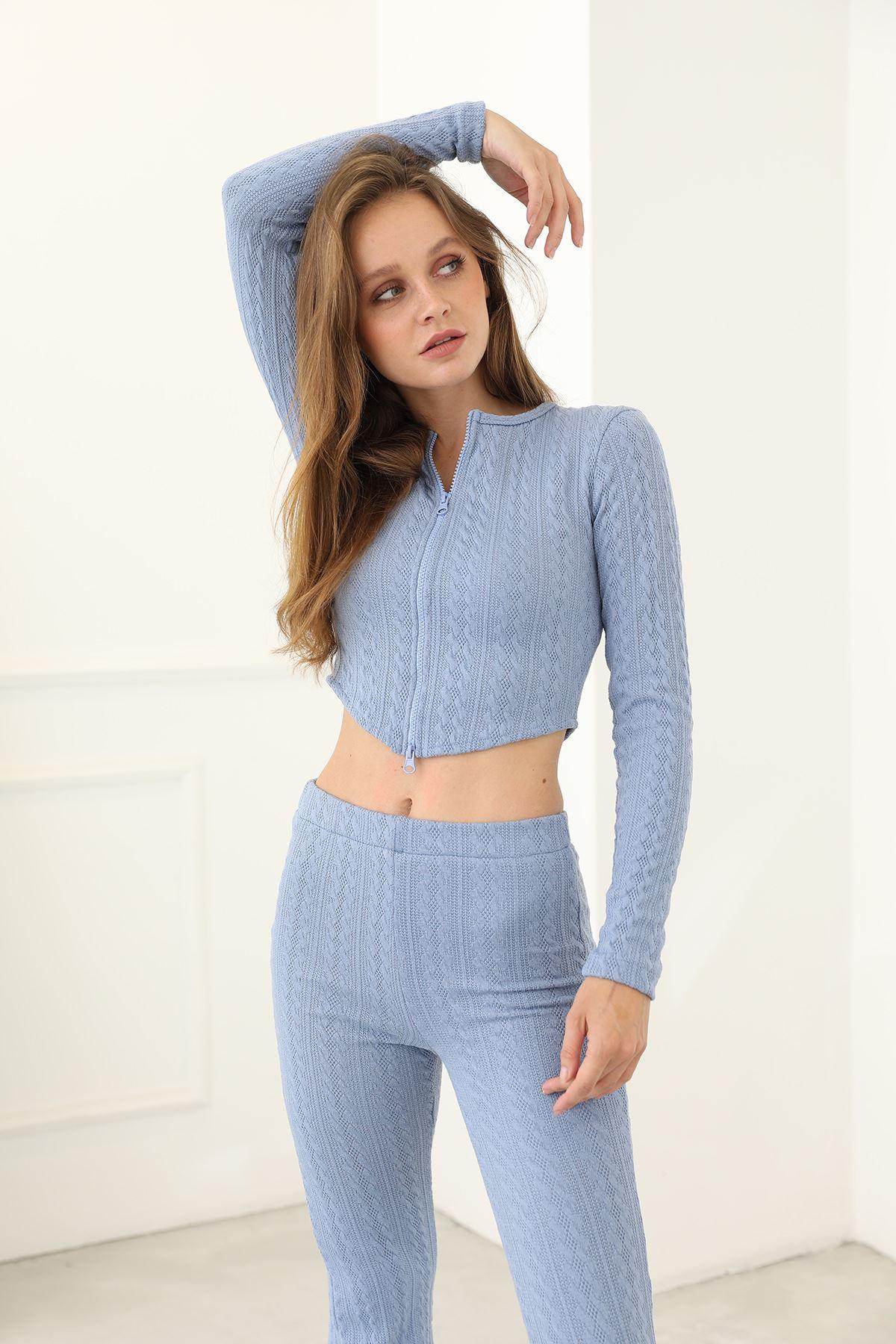 Örme Pantolon Takım-Mavi