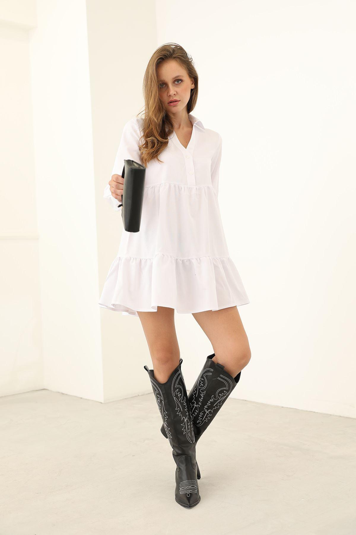 Gömlek Elbise-Beyaz