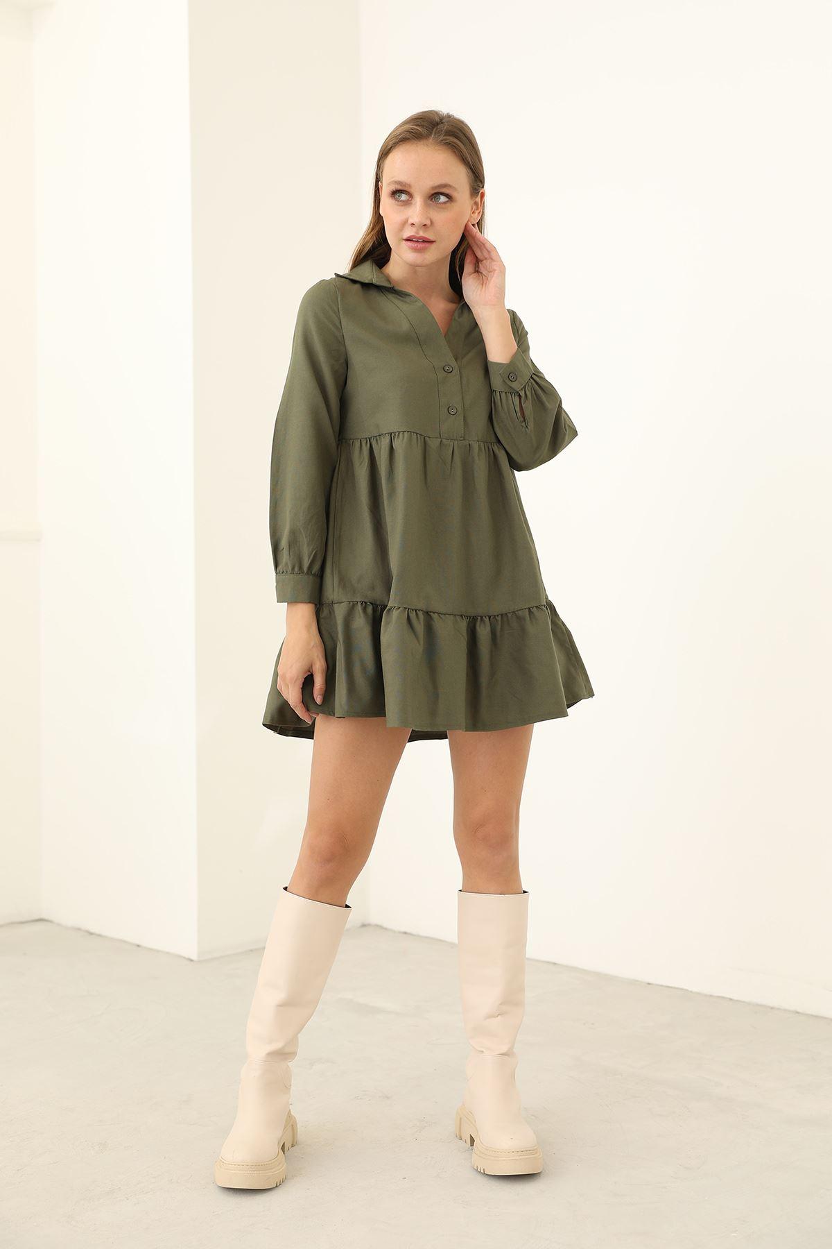 Gömlek Elbise-Haki