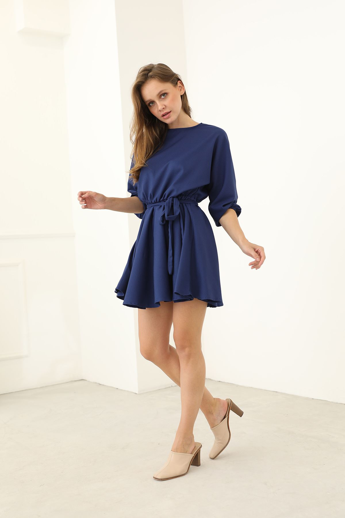 Kuşaklı Elbise-Lacivert