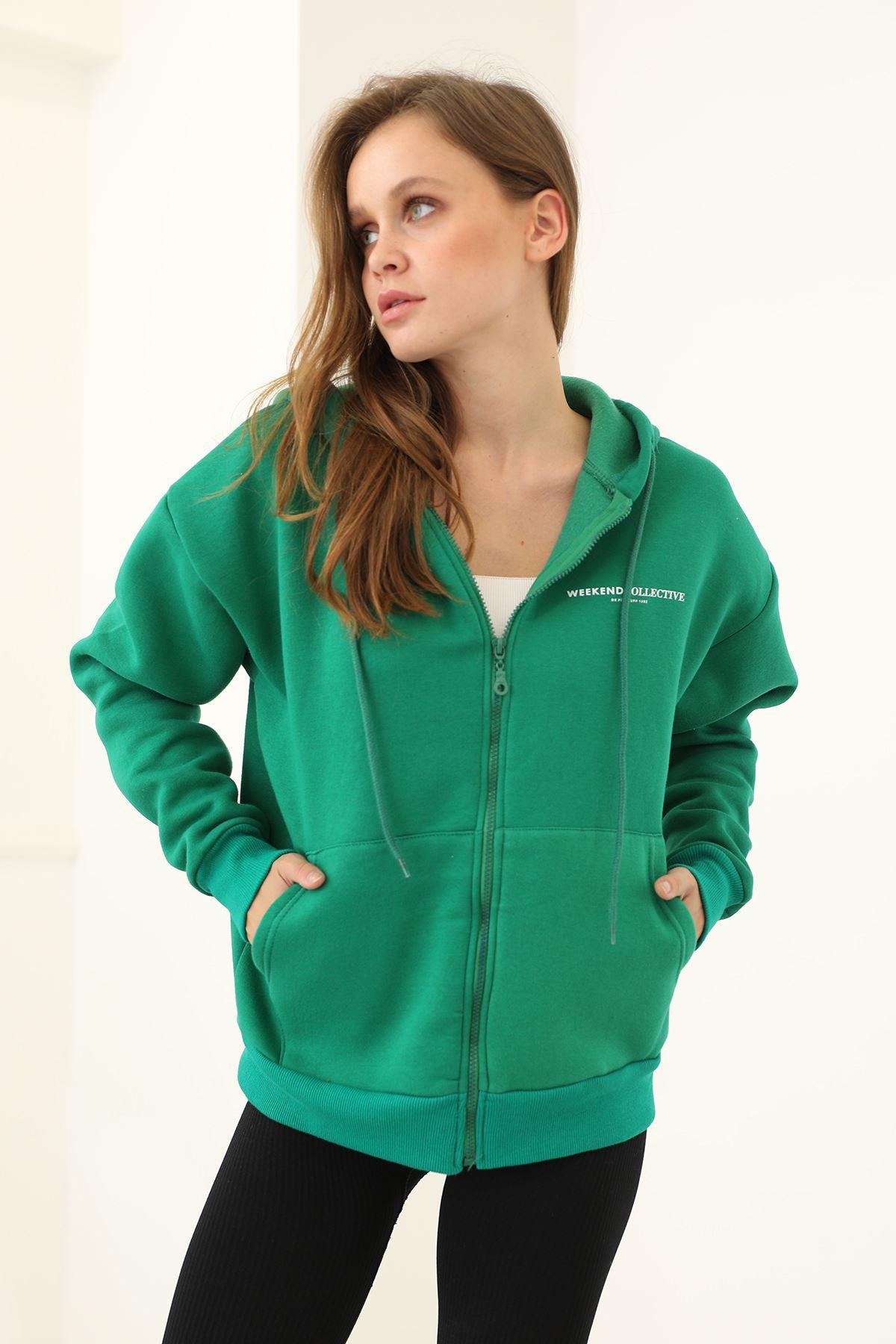 Baskılı Fermuarlı Sweatshirt-Yeşil
