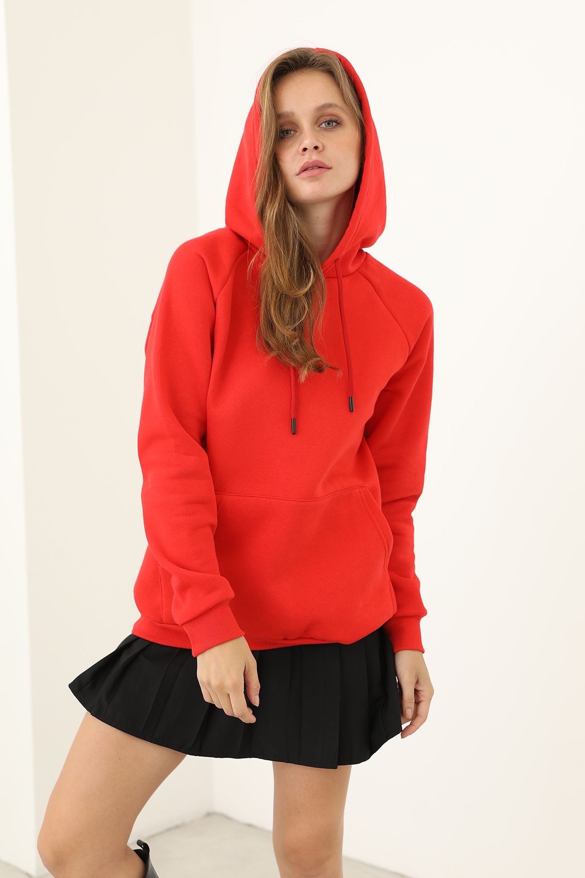 Kapşonlu Sweatshirt-Kırmızı