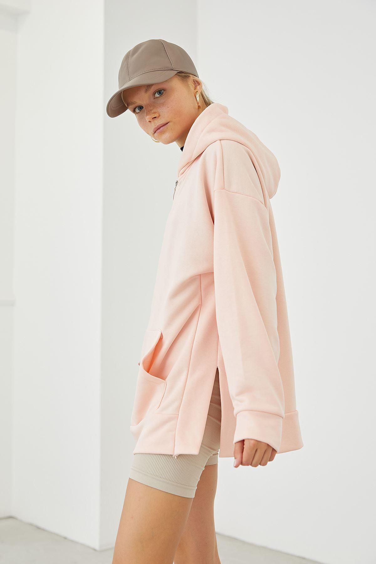 Fermuarlı Basic Sweatshirt-Pudra
