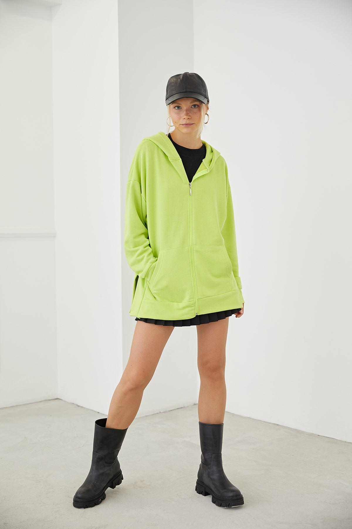 Fermuarlı Basic Sweatshirt-Fıstık Yeşili