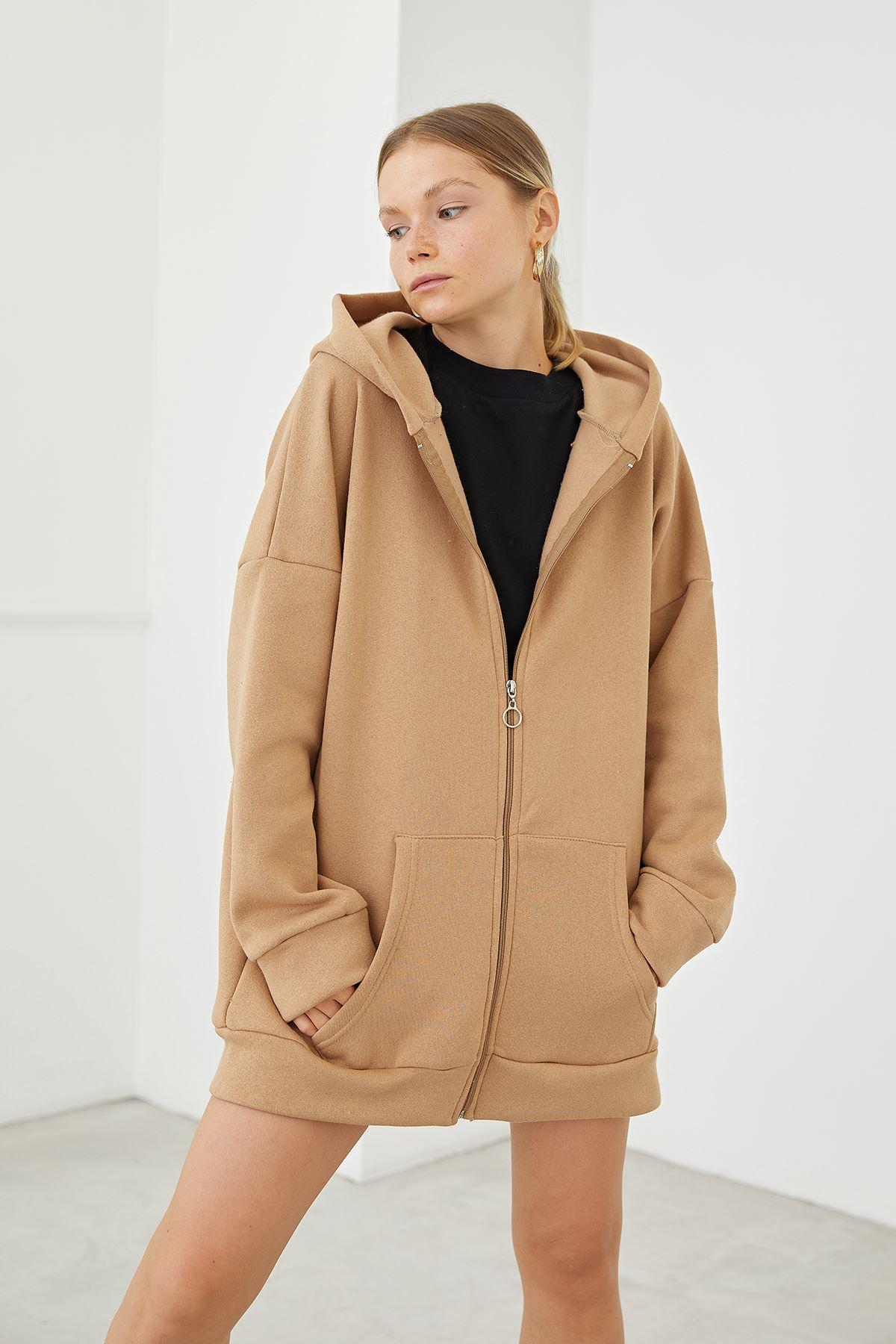 Fermuarlı Sweatshirt-Camel
