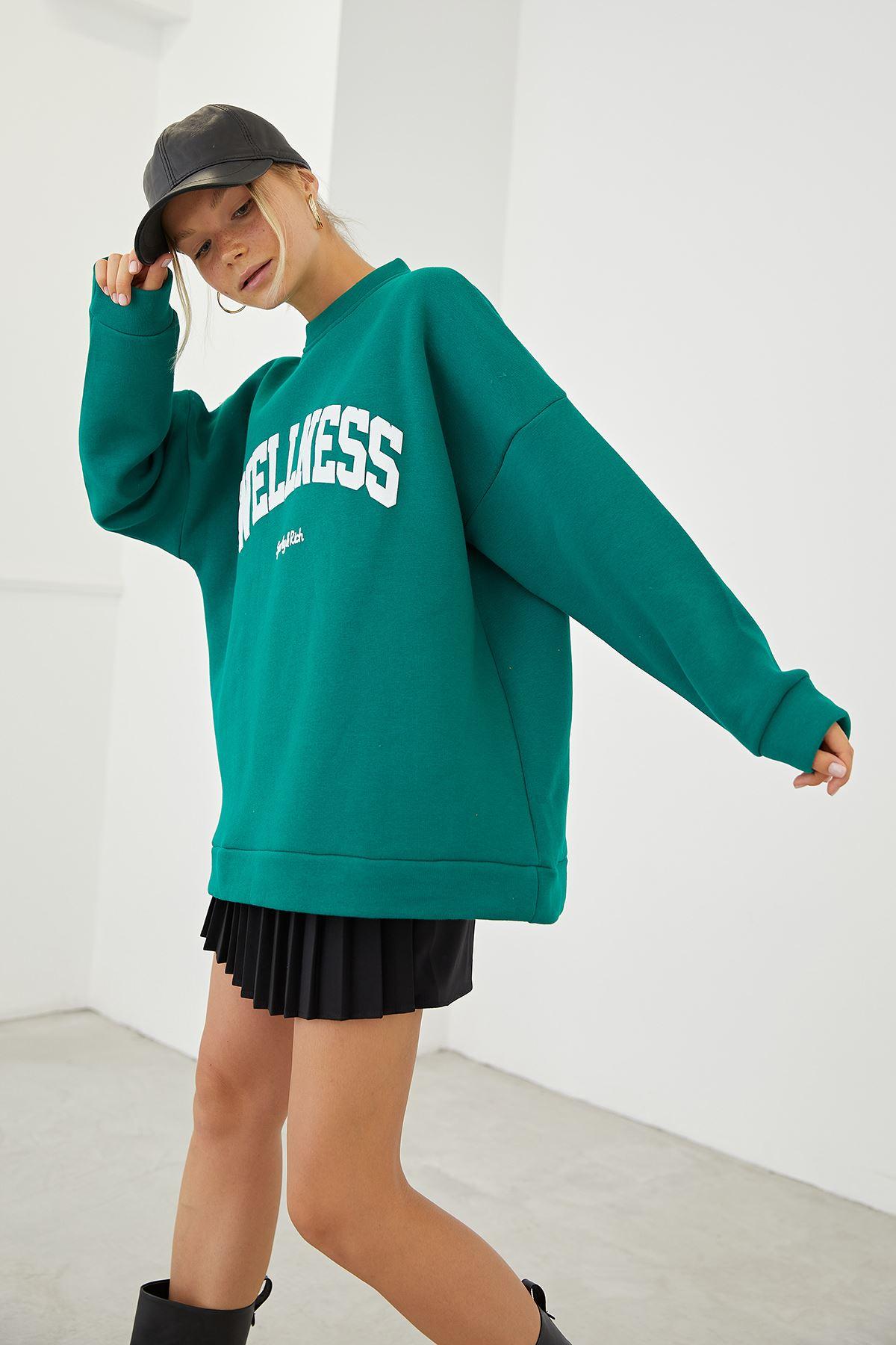 Wellnes Baskılı Sweatshirt-Yeşil