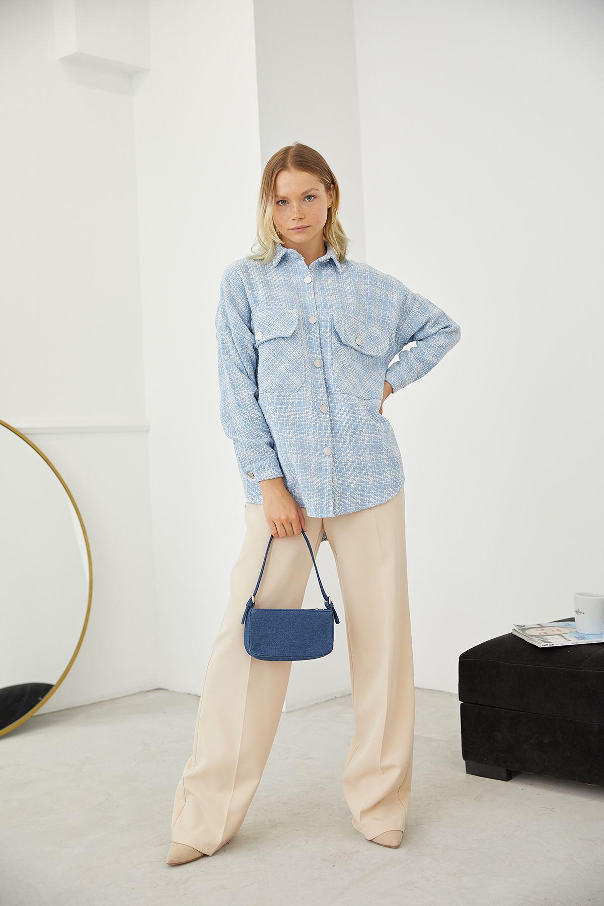 Çift Cep Gömlek-Mavi