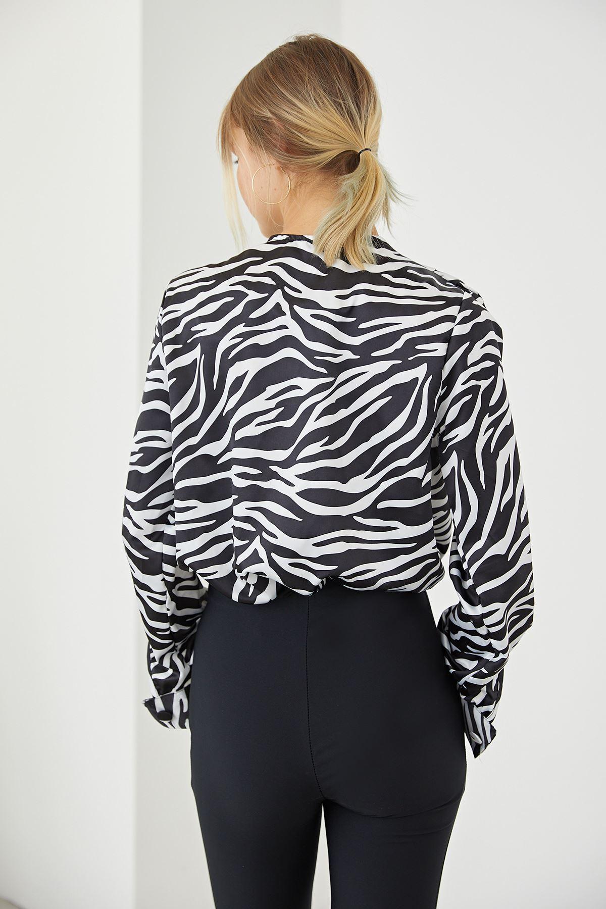 Zebra Desen BodySuit-Siyah
