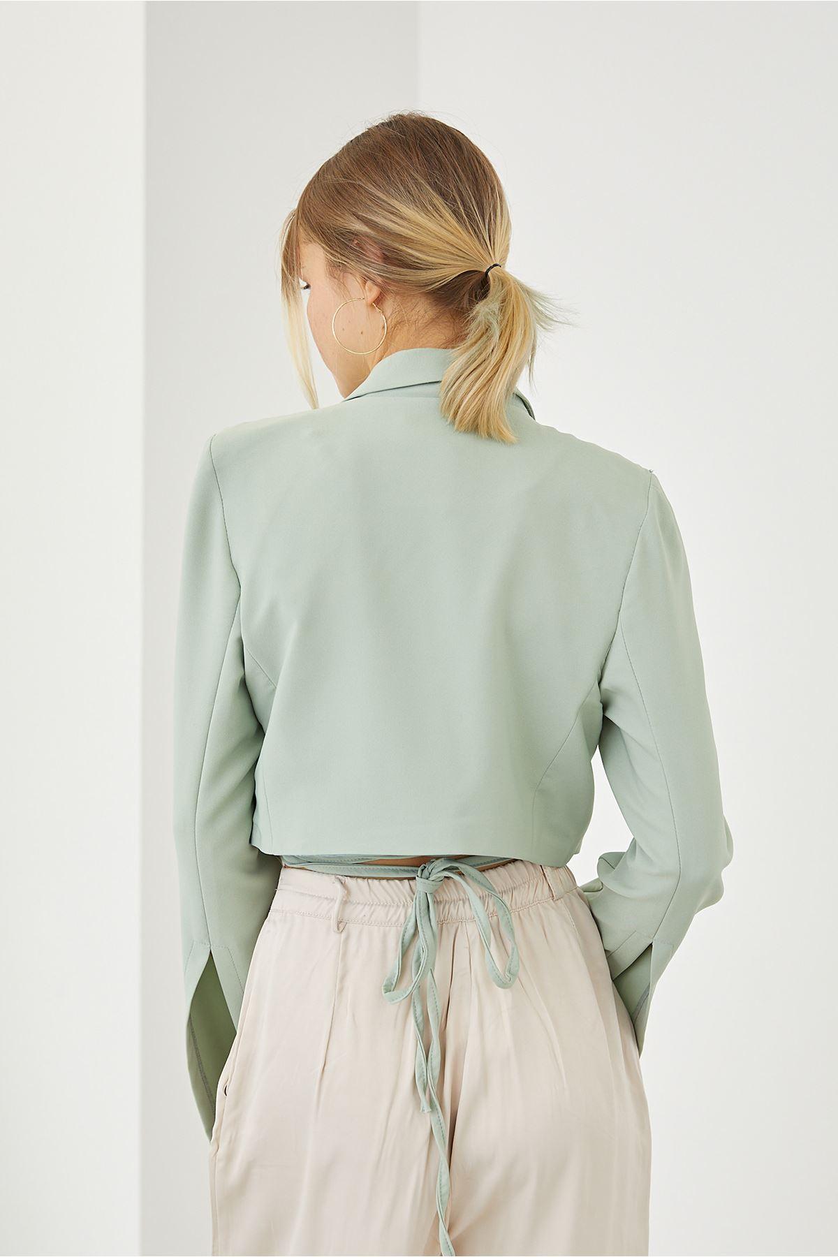 Bağlamalı Ceket-Mint