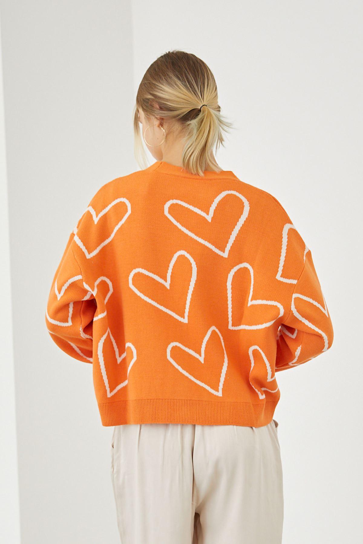 Kalp Desen Hırka-Oranj