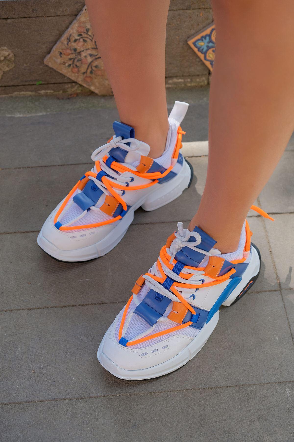 Tabanlı Spor Ayakkabı-Beyaz / Mavi