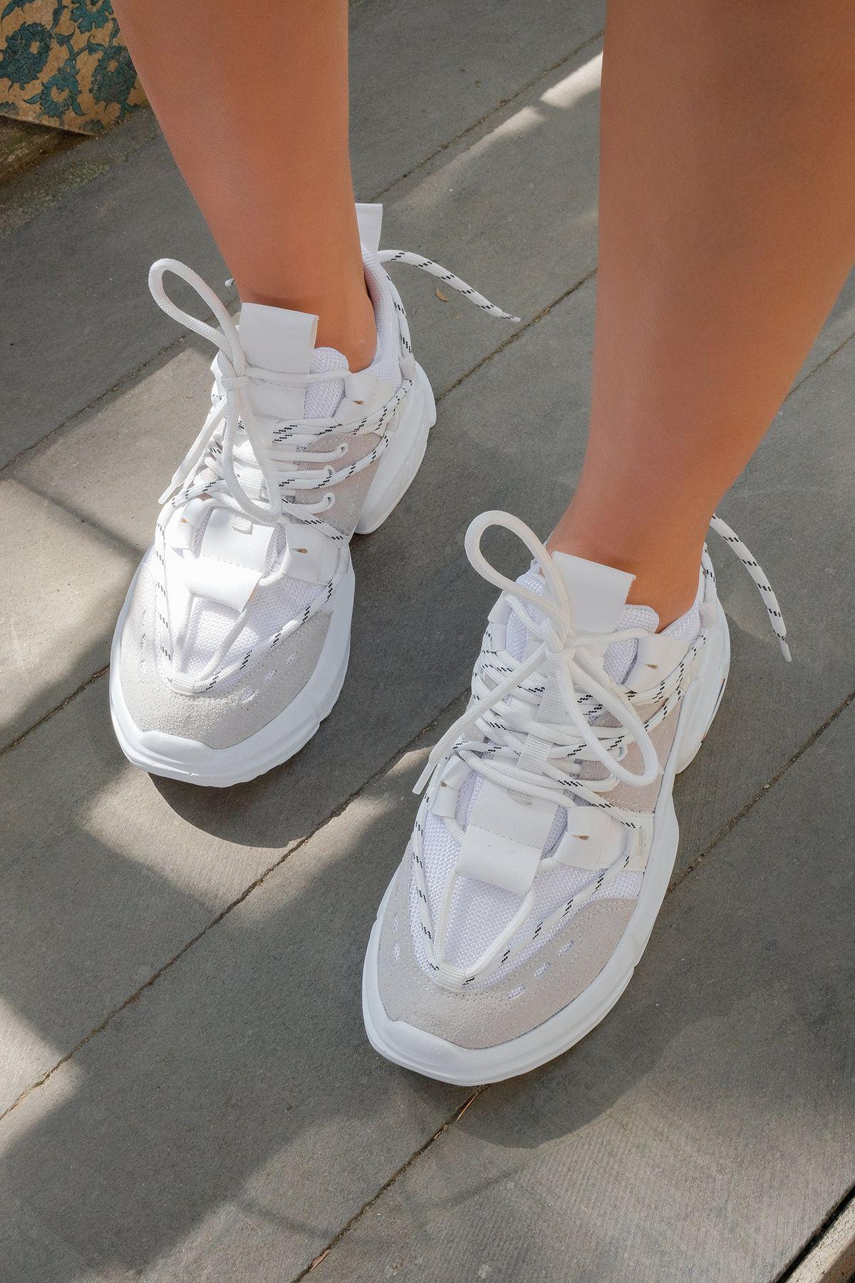 Tabanlı Spor Ayakkabı-Beyaz-Gri