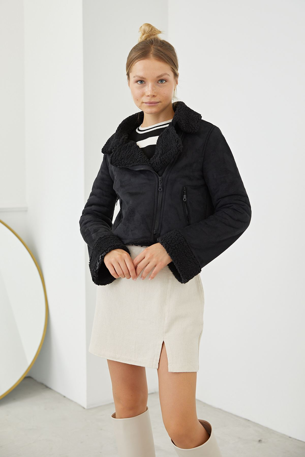 Süet Ceket-Siyah