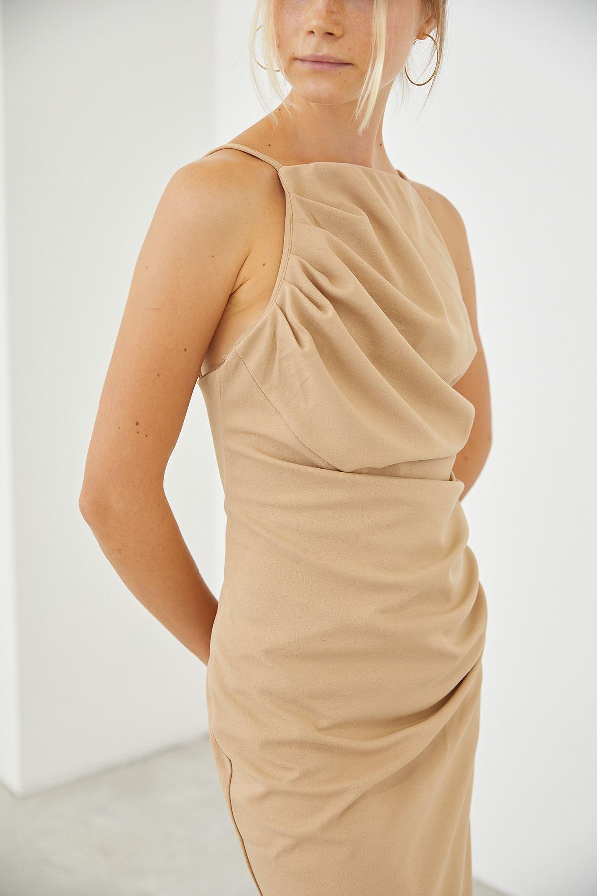 Askılı Elbise-Bej