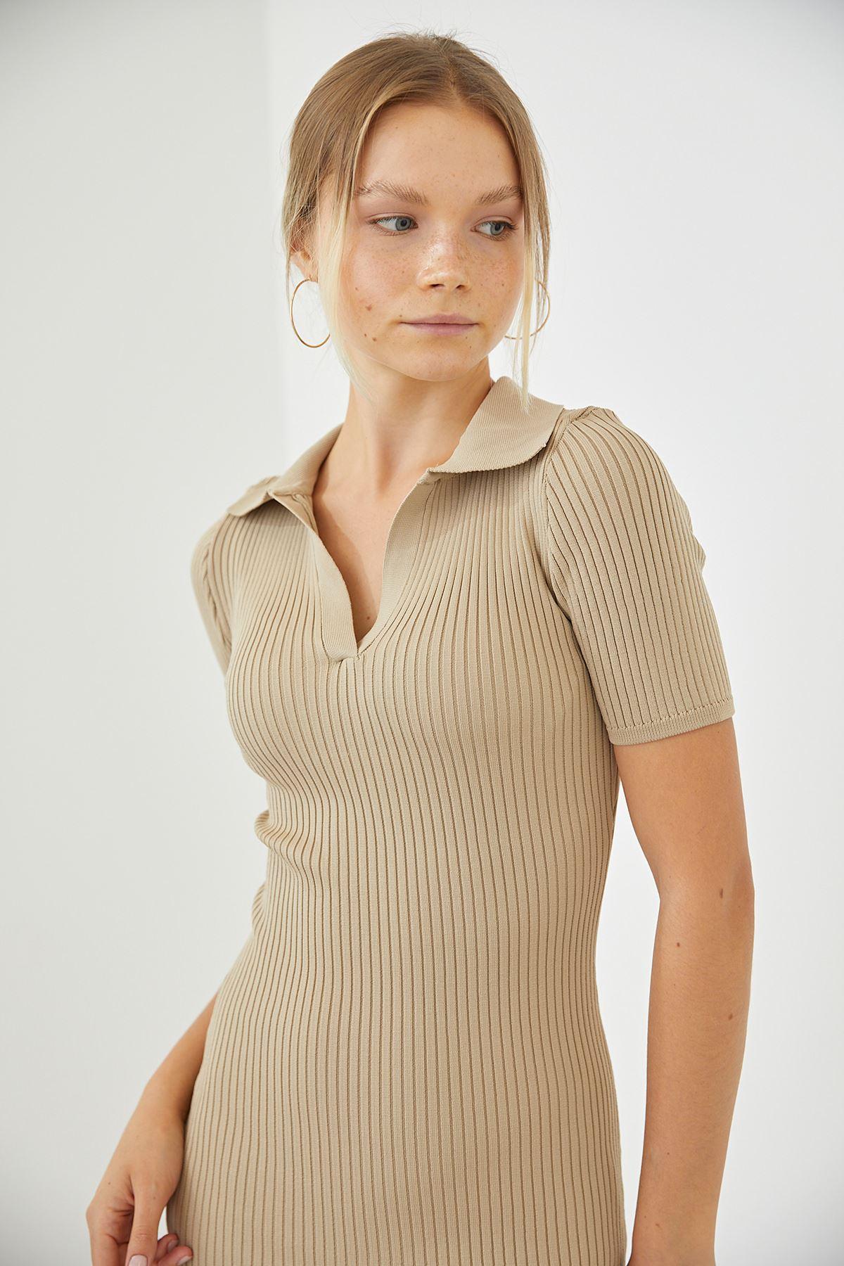 Polo Yaka Triko Elbise-Bej