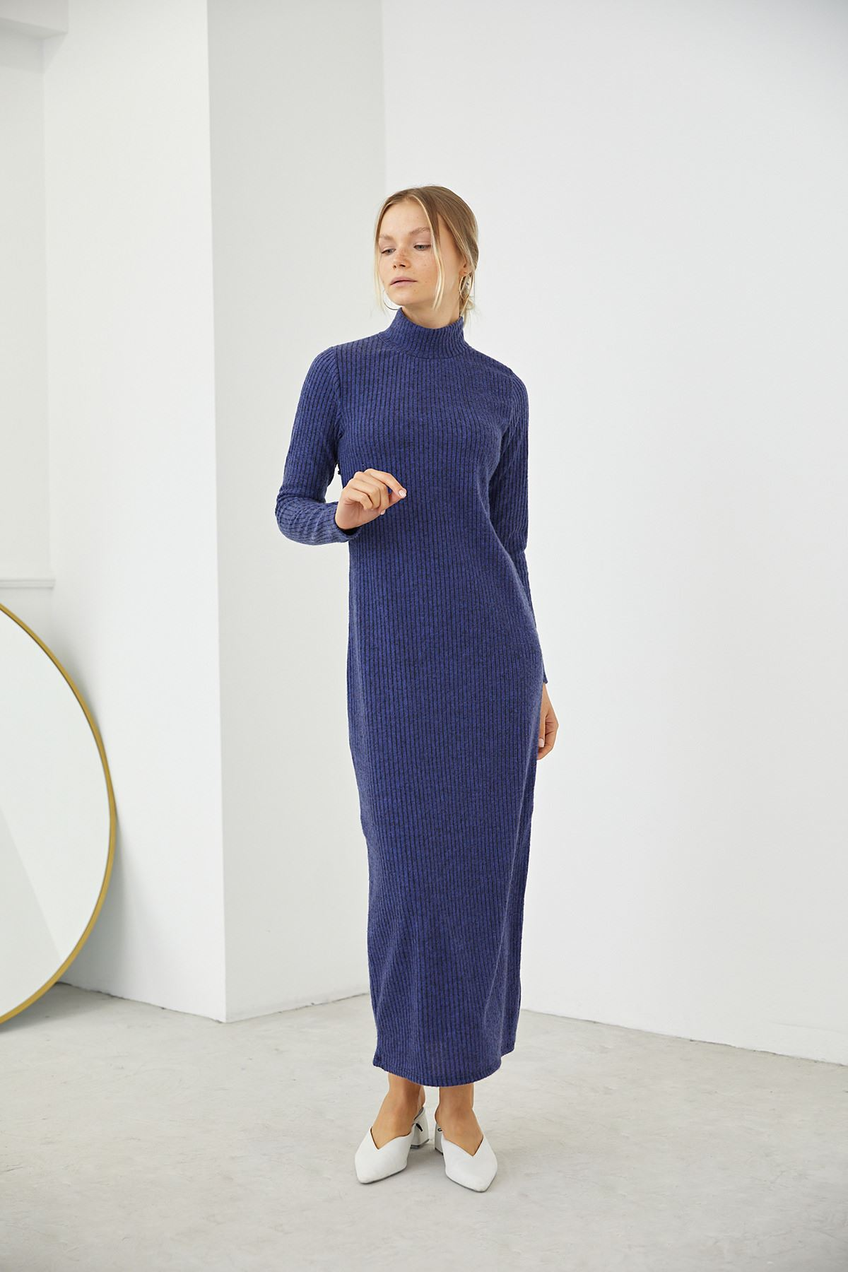 Dik Yaka Triko Elbise-İndigo