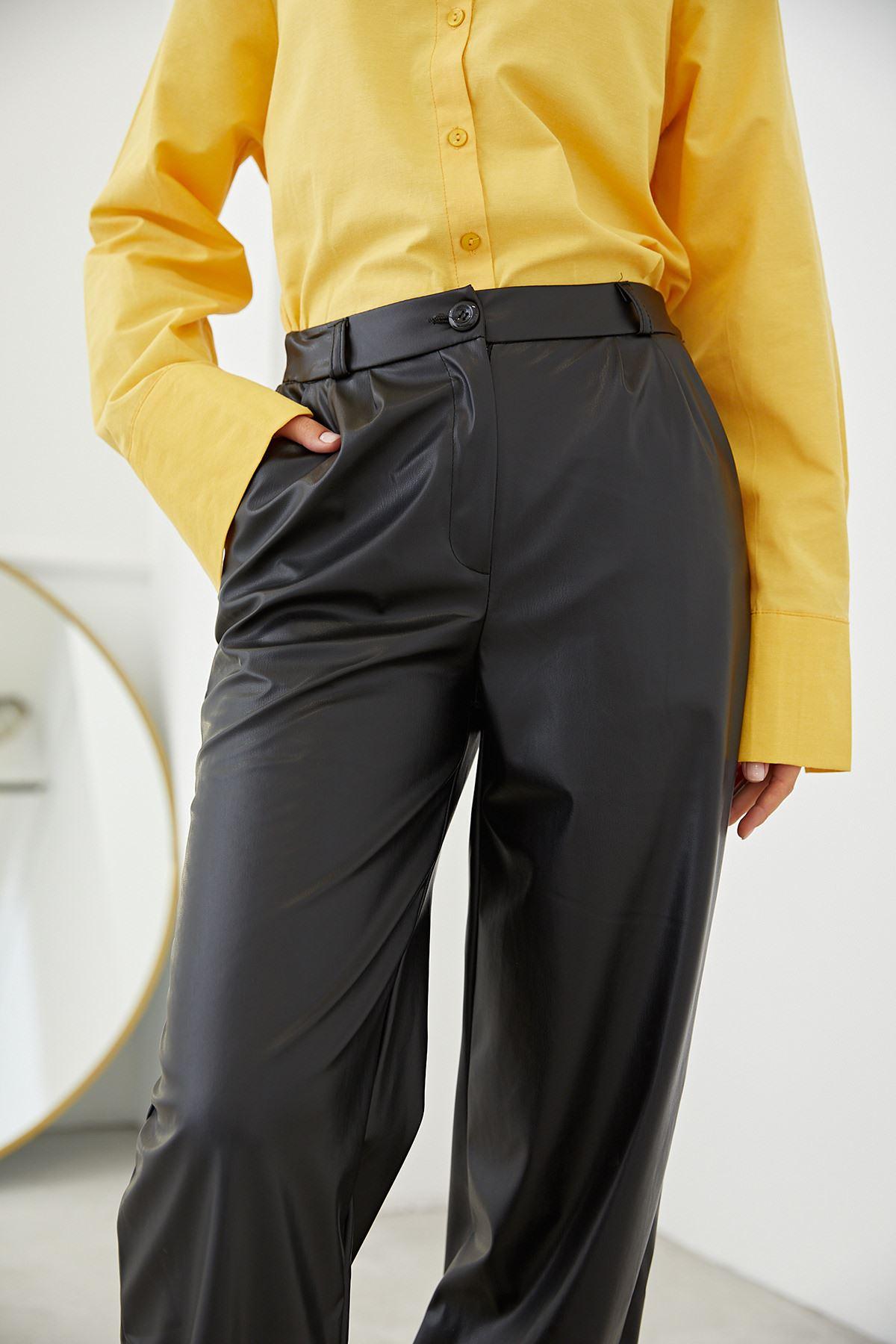Bol Paça Deri Pantolon-Siyah