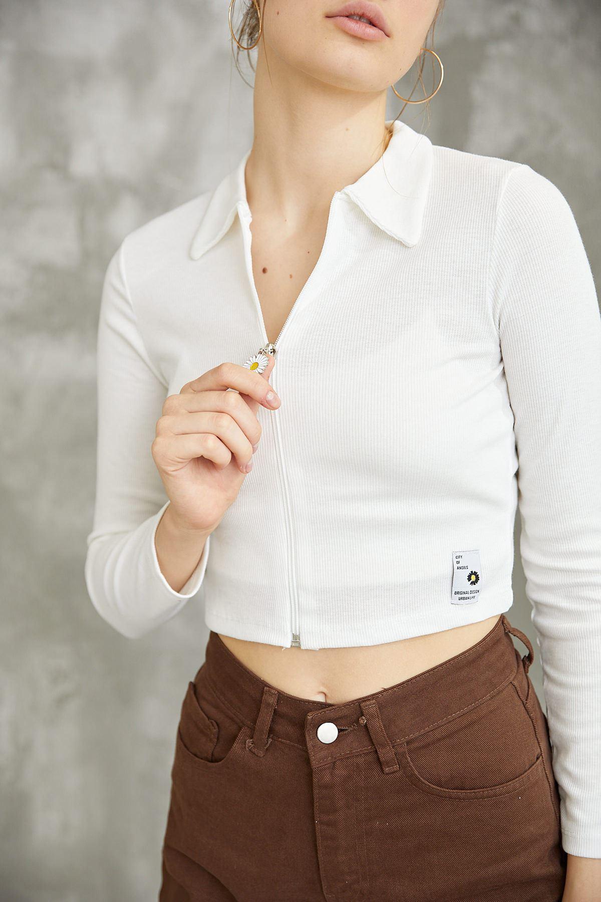 Papatya Fermuarlı Bluz-Beyaz