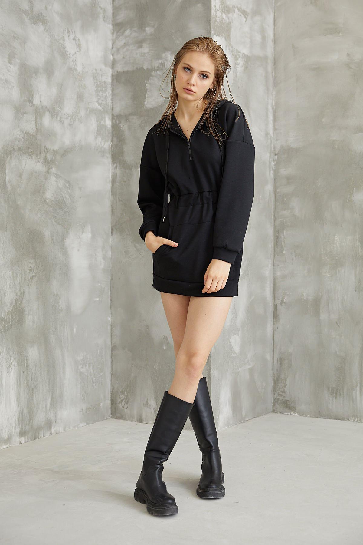 Bel Büzgülü Sweatshirt-Siyah