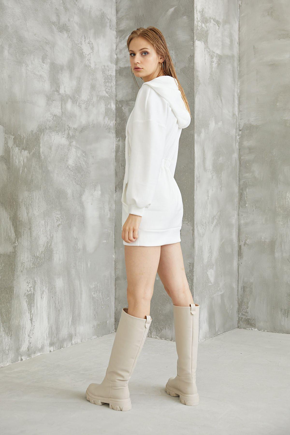 Bel Büzgülü Sweatshirt-Beyaz