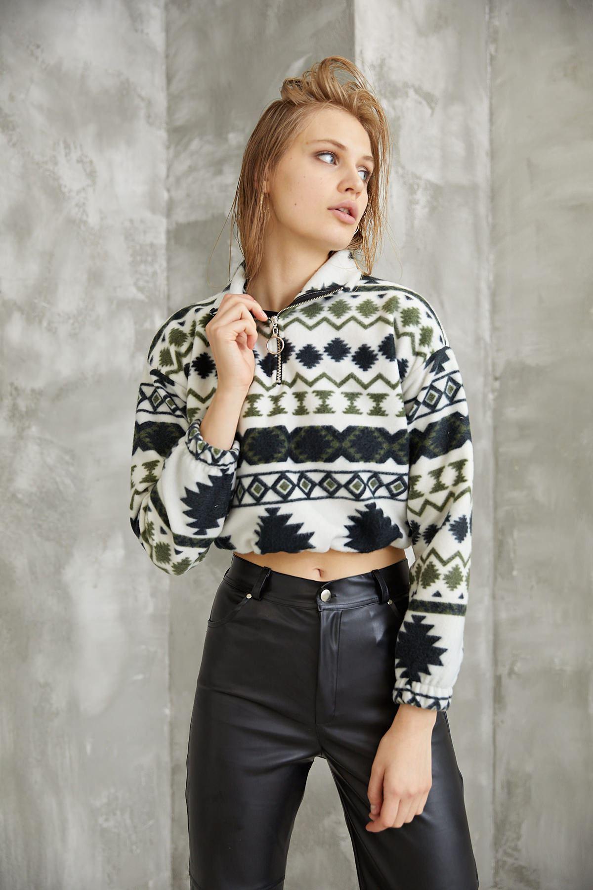 Kilim Desen Sweatshirt-Yeşil