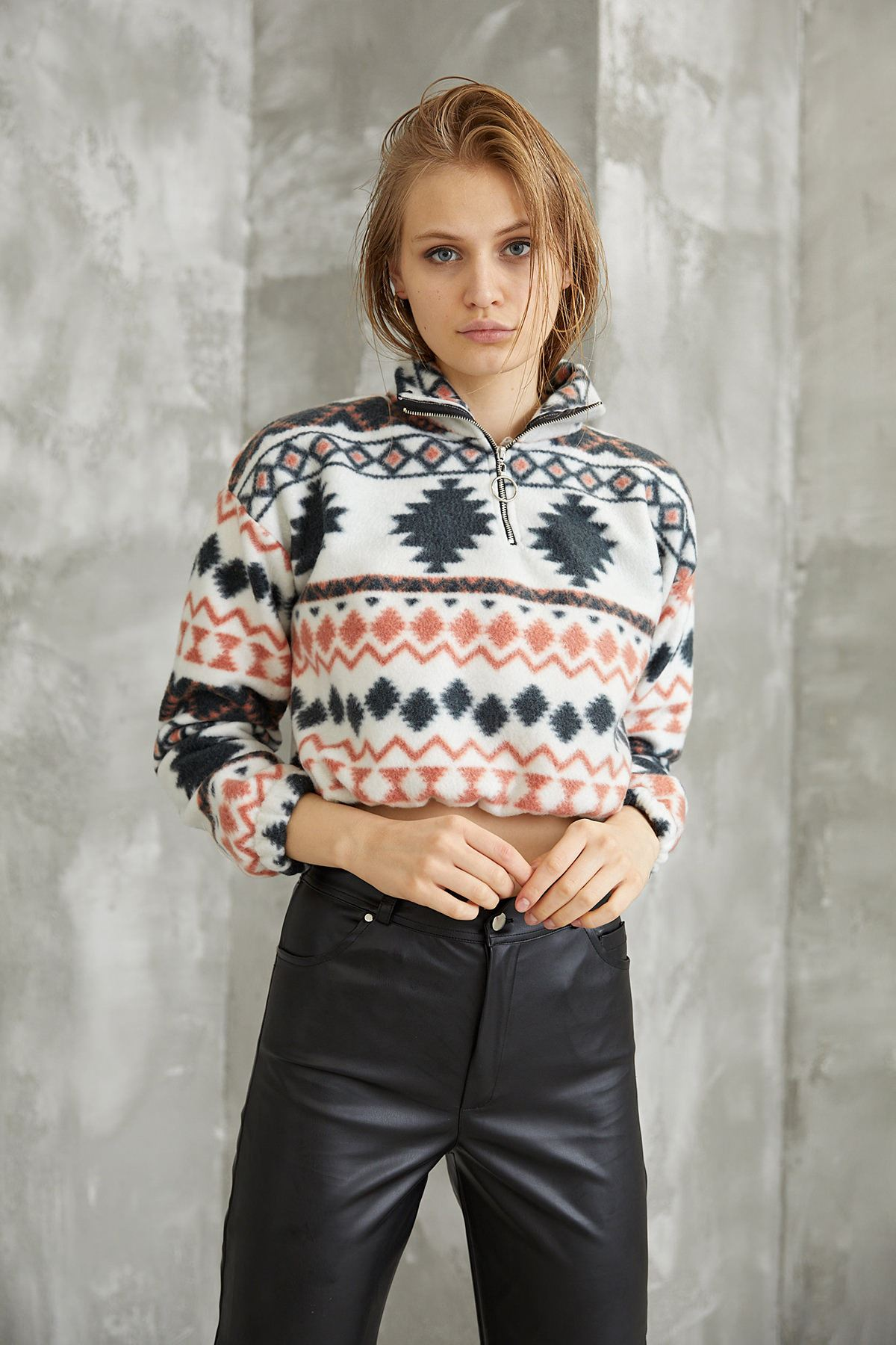 Kilim Desen Sweatshirt-Kiremit