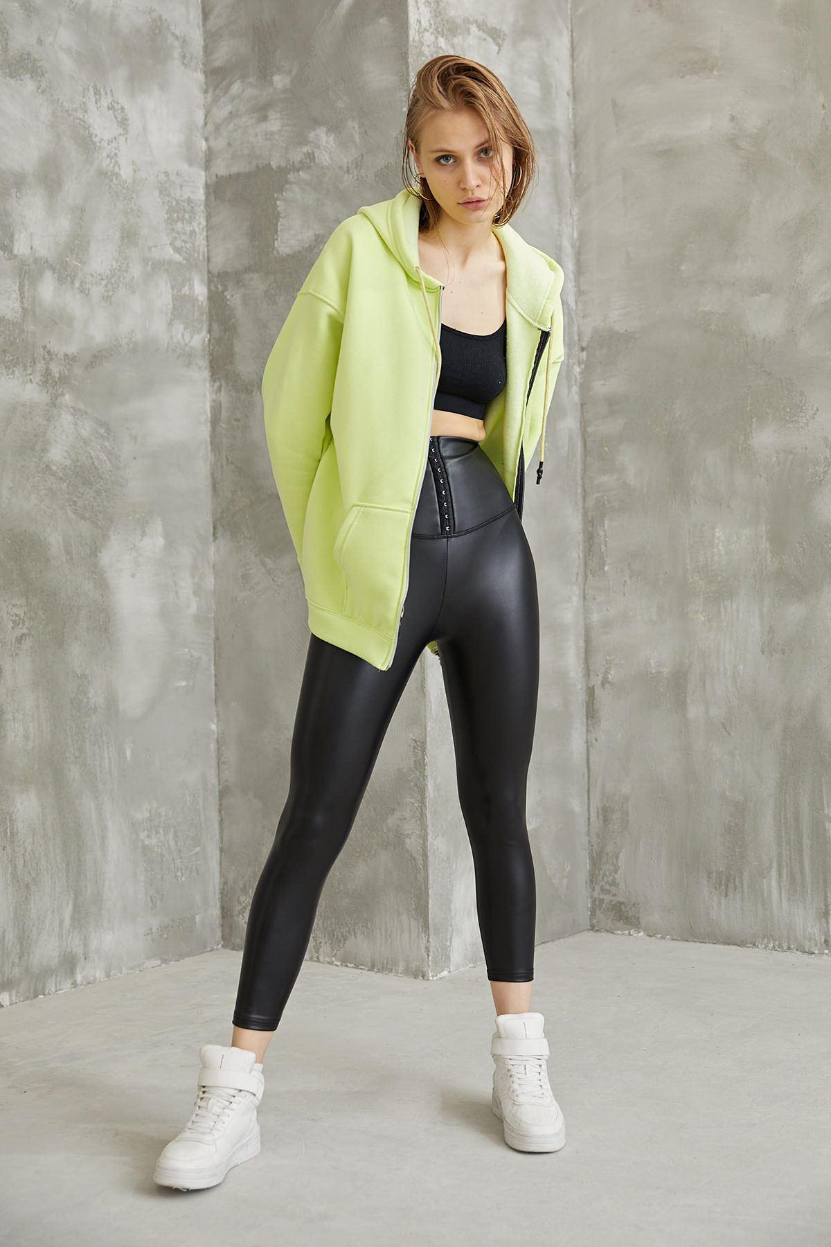 Oversize Fermuarlı Sweatshirt-Fıstık Yeşili